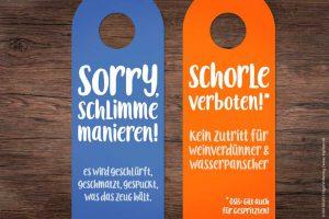 Warnung vor schlimmen Manieren und klares Weinschorle-Verbot