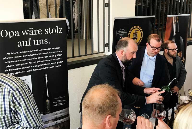 Stand von Weingut Peter Kriechel mit sehr breitem und gutem Frühburgunder-Portfolio