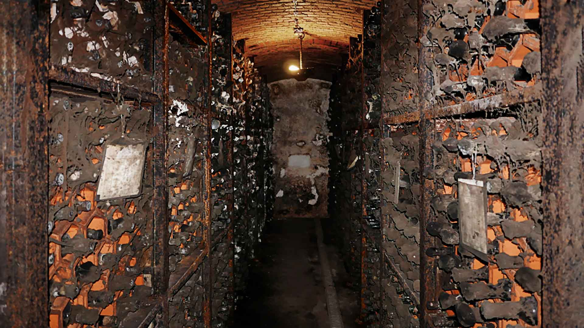 Historical cellar at vineyard with old Port wines