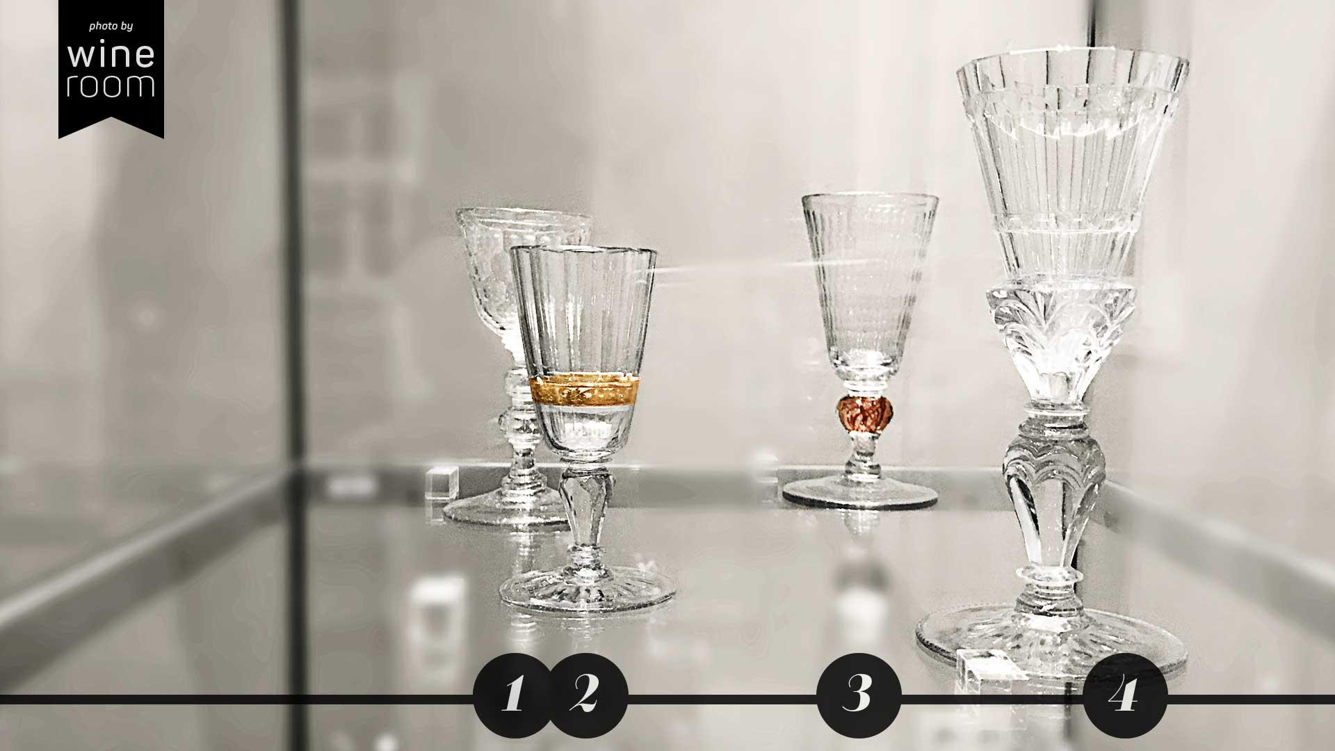Weingläser aus 4 Jahrhunderten Sammlung Christian Jentsch: Hundertaugenglas, Glas mit Goldeinfassung