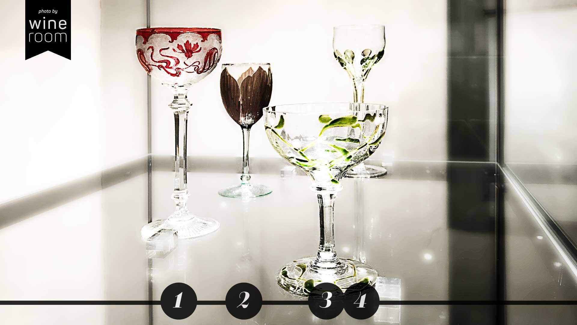 Weingläser aus 4 Jahrhunderten Sammlung Christian Jentsch: vier Gläser mit Jugendstil-Dekor