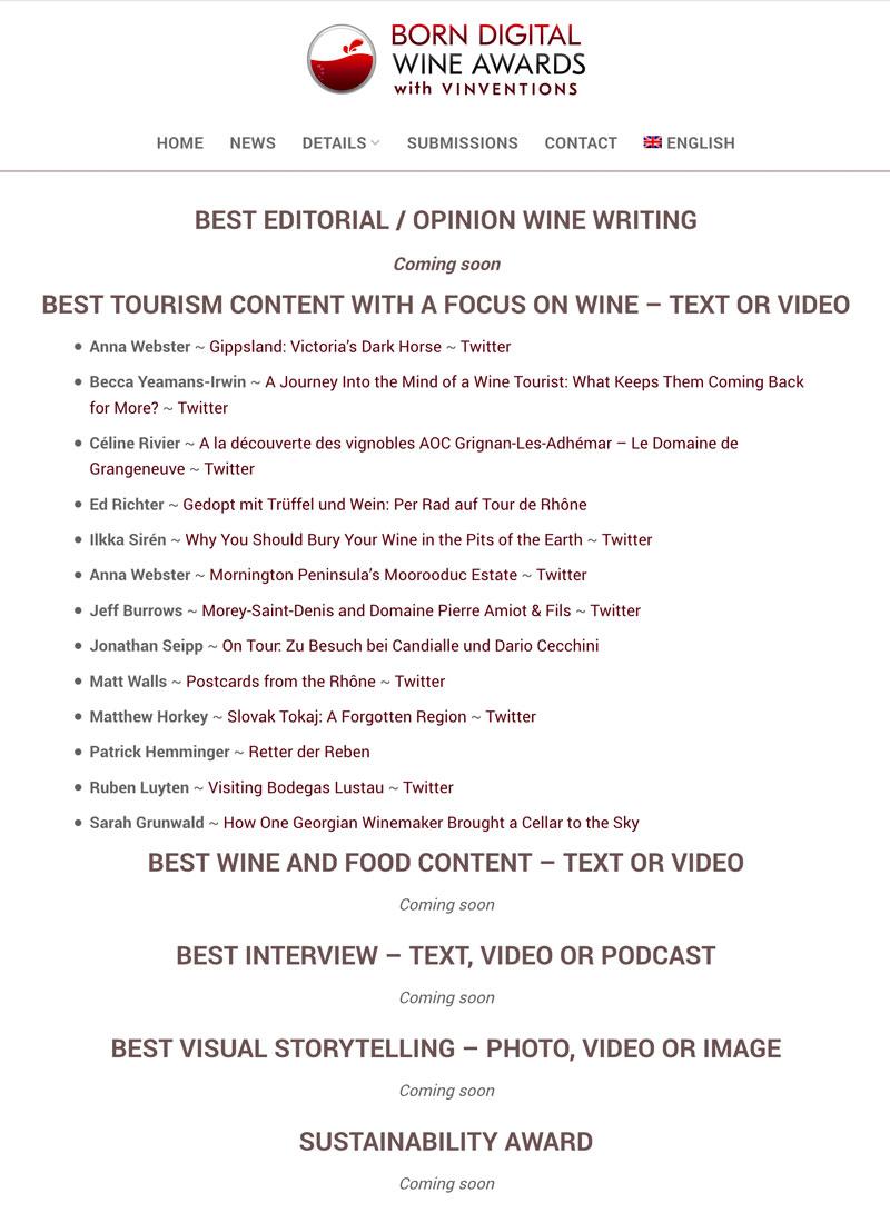 wineroom-Autor Ed Richter nominiert für beste Reportage zu Wein und Tourismus