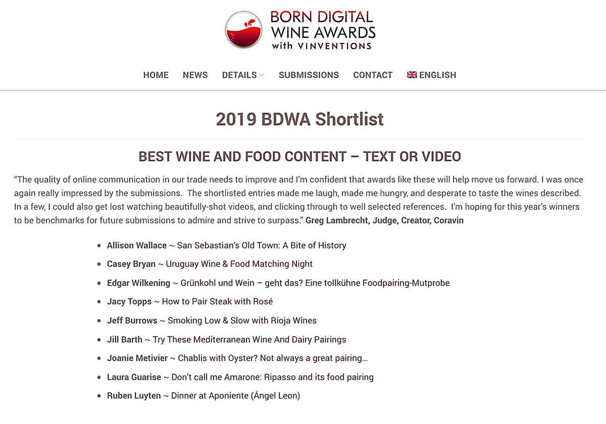 wineroom-Autor Edgar Wilkening und die weiteren Nominierten