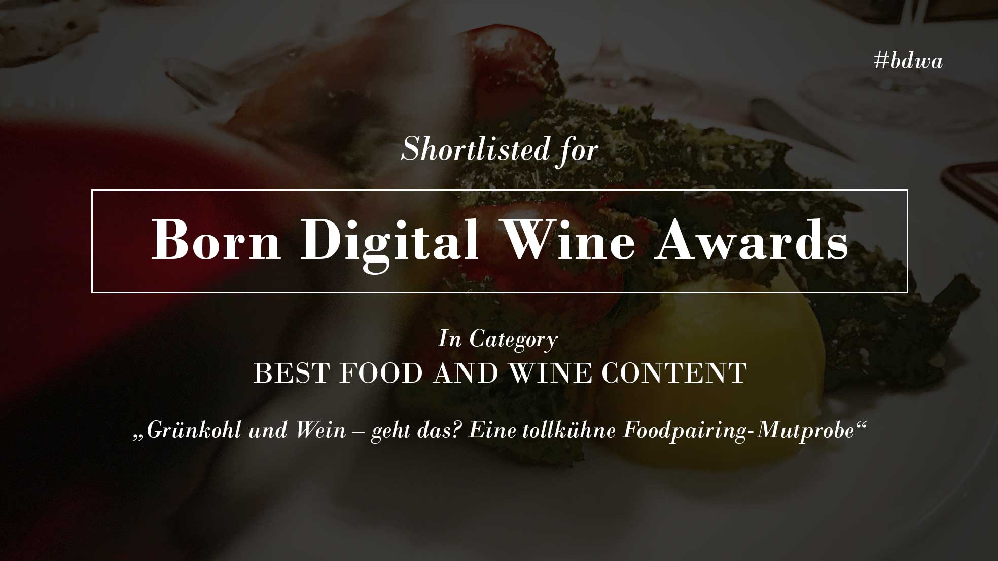 Shortlisted for wine award